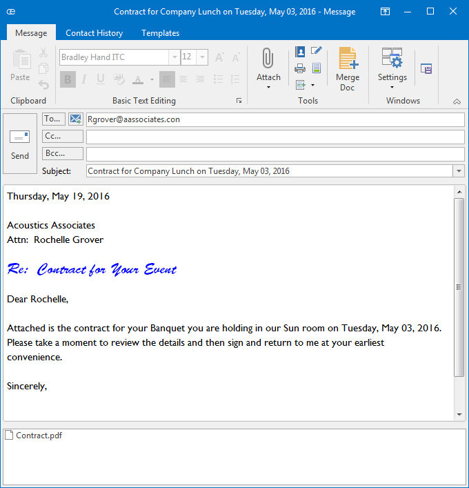 Merge Letters for Emailing